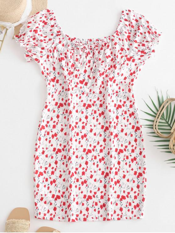 new Scoop Neck Tiny Floral Sheath Dress - WHITE M
