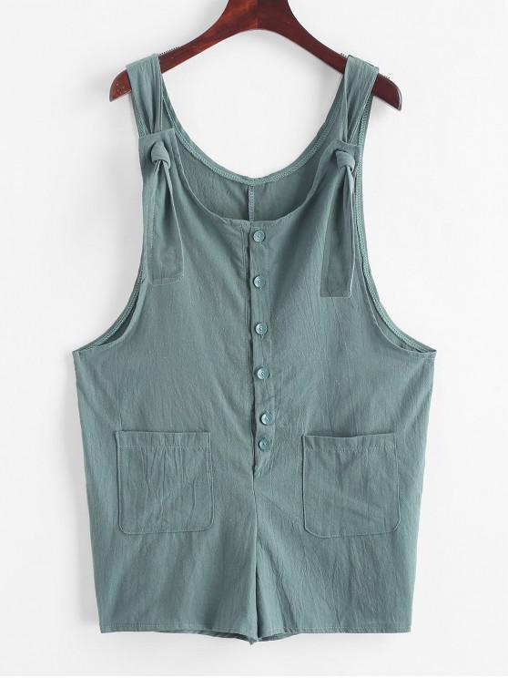 outfit Scoop Neck Buttoned Pockets Solid Romper - MEDIUM AQUAMARINE M