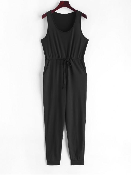 best Scoop Neck Drawstring Jogger Jumpsuit - BLACK S