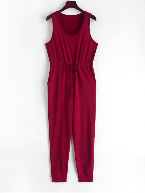 shop Scoop Neck Drawstring Jogger Jumpsuit - RED WINE XL