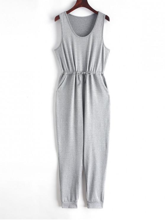 latest Scoop Neck Drawstring Jogger Jumpsuit - GRAY S