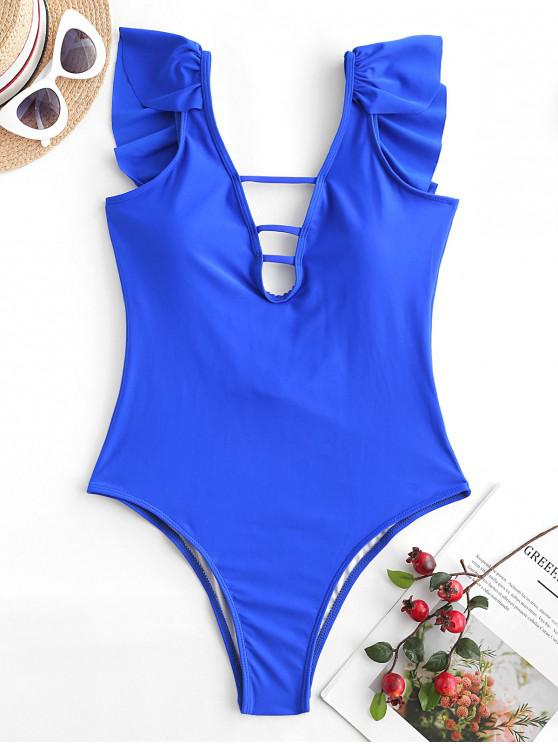 fashion ZAFUL Ladder Cutout Ruffle One-piece Swimsuit - COBALT BLUE M