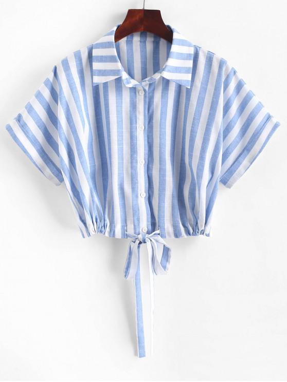 hot ZAFUL Striped Drop Shoulder Drawstring Hem Shirt - MULTI-B L