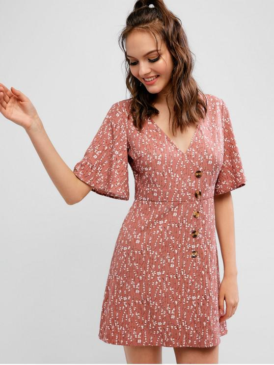 hot ZAFUL Plunge Ditsy Floral A Line Buttoned Dress - ROSY BROWN S