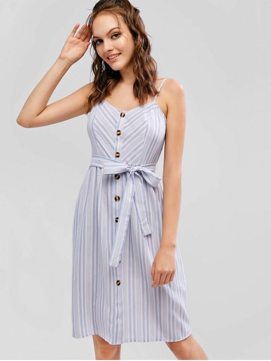 lady ZAFUL Striped Button Embellished Cami Dress - MULTI-B M