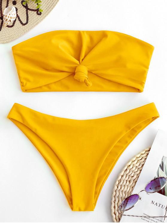 womens ZAFUL Knot Bandeau Bikini Set - RUBBER DUCKY YELLOW S
