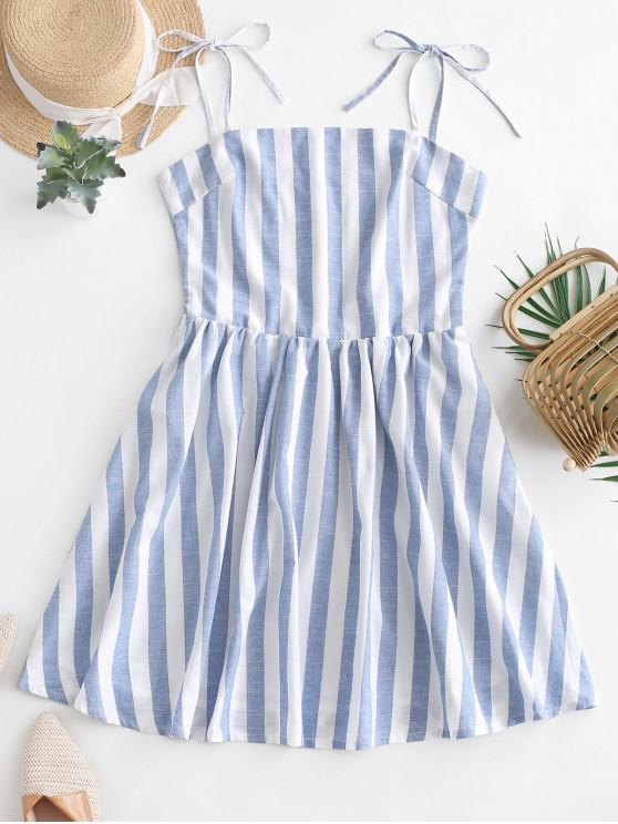 fashion ZAFUL Striped Tie Straps Mini A Line Dress - LIGHT BLUE M