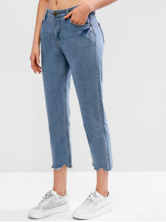 best Raw Hem Mid Rise Pocket Boyfriend Jeans - JEANS BLUE L
