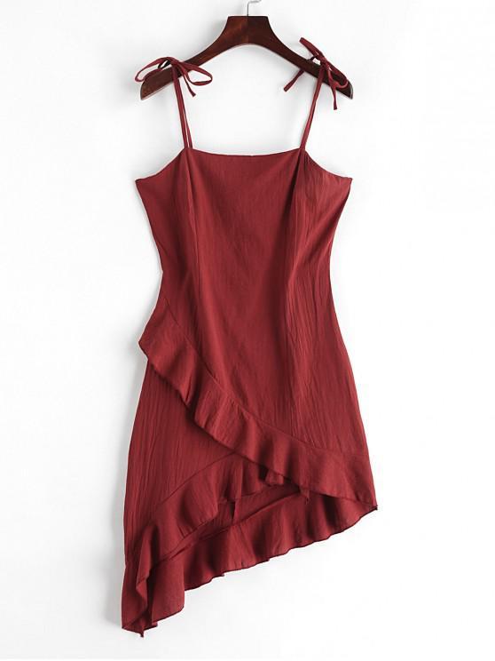 lady Ruffles Asymmetric Tie Straps Solid Dress - RED WINE M