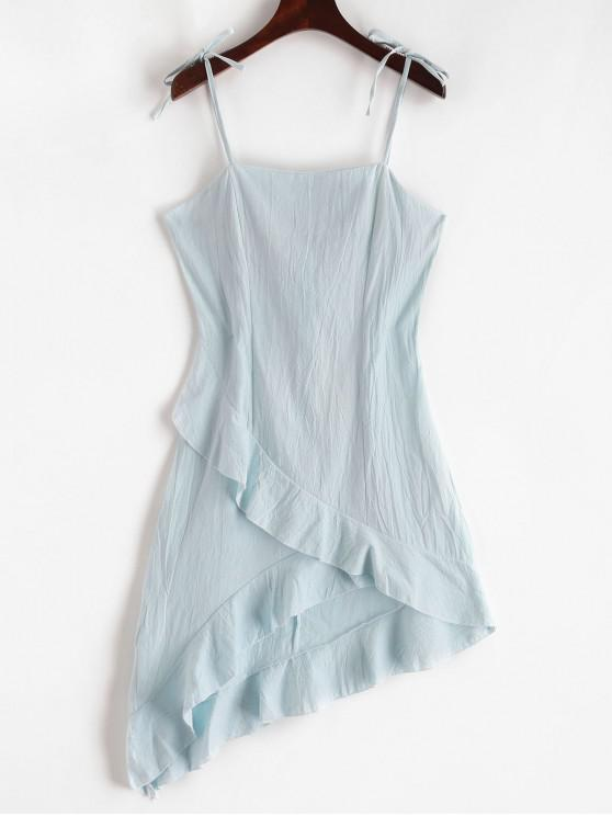 outfit Ruffles Asymmetric Tie Straps Solid Dress - JEANS BLUE L