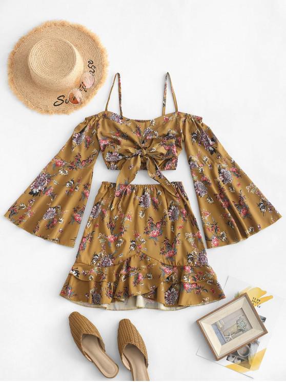 affordable Tie Front Floral Cold Shoulder Top And Skirt Set - CARAMEL L