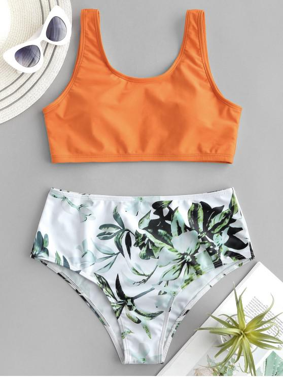 latest ZAFUL Plant Print Mix and Match Tankini Swimsuit - MANGO ORANGE M