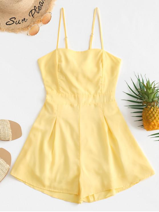 buy Solid Tied Back Cami Romper - YELLOW L