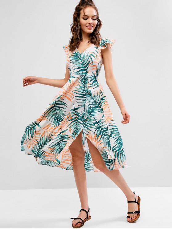 shops ZAFUL Leaf Print Ruffled Slit Plunge Midi Dress - MULTI M