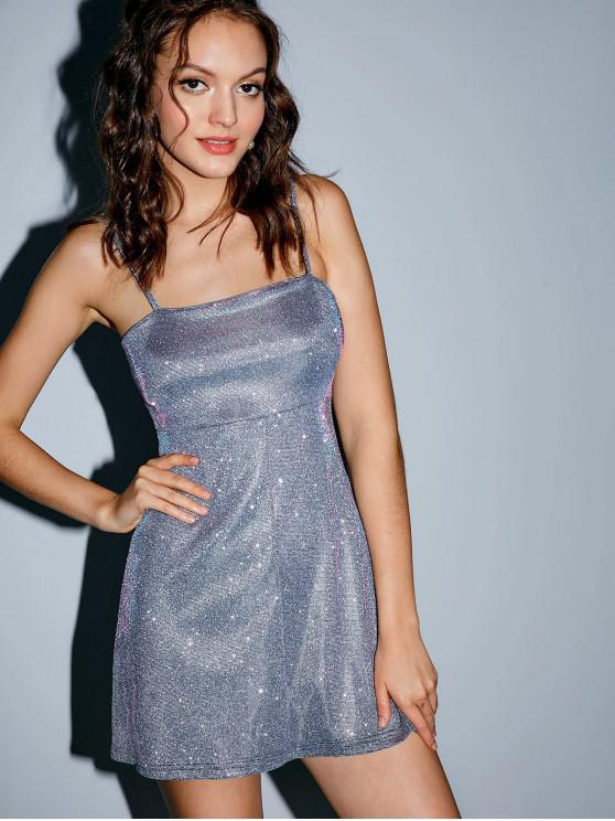 unique Cami Shiny A Line Mini Dress - SILVER M
