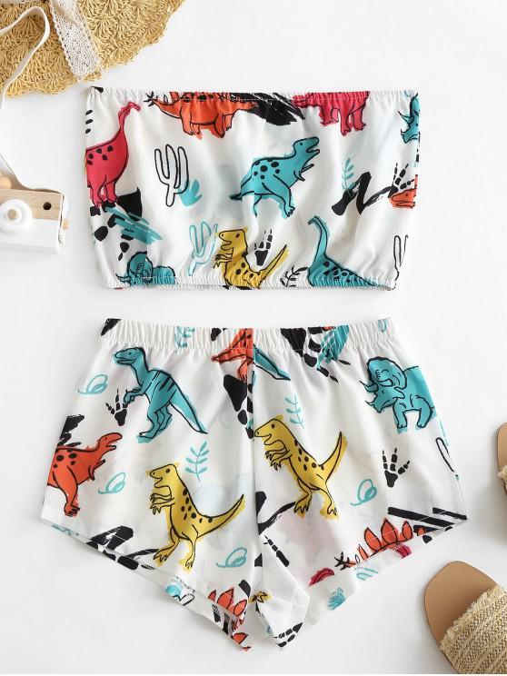 fancy Cute Dinosaur Print Bandeau Top And Shorts Set - WHITE XS