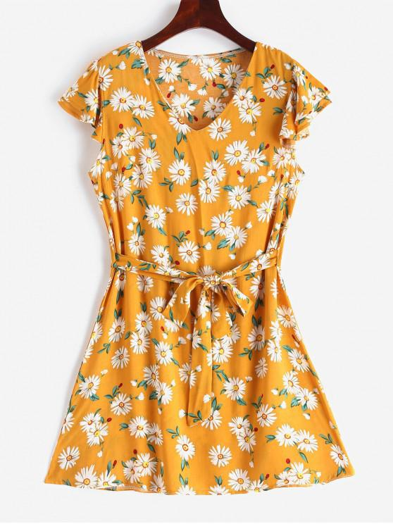 latest V Neck Flower Print Belted A Line Dress - GOLDENROD S