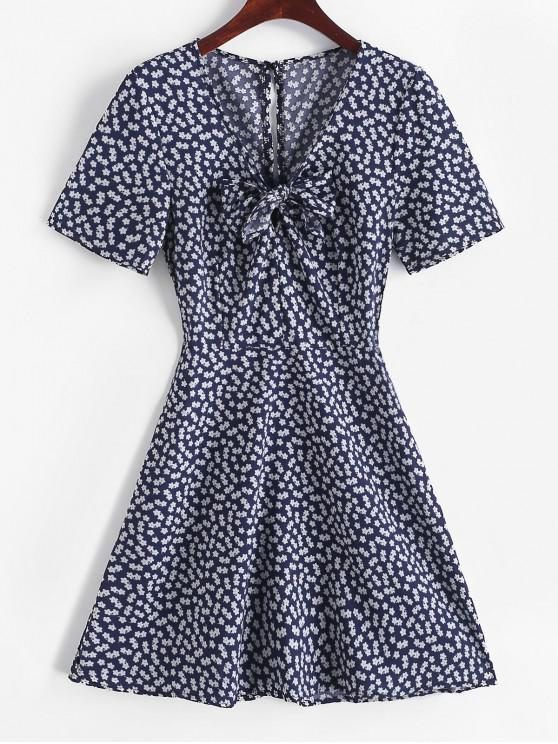 women V Neck Knotted Tiny Floral Flare Dress - DEEP BLUE L