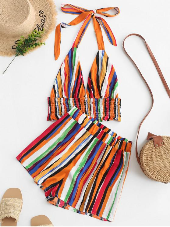 lady Halter Smocked Colorful Stripes Top And Shorts Set - MULTI-A L