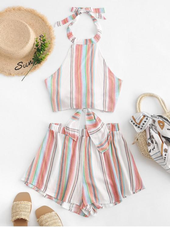 best Tied Back Cropped Stripes Top And Shorts Set - MULTI-A M