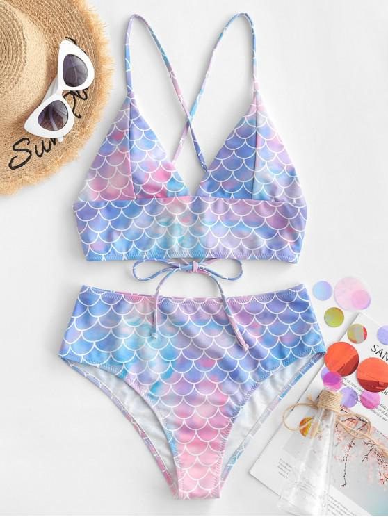 sale ZAFUL Scale Print Crisscross Mermaid Tankini Swimsuit - MULTI-A XL
