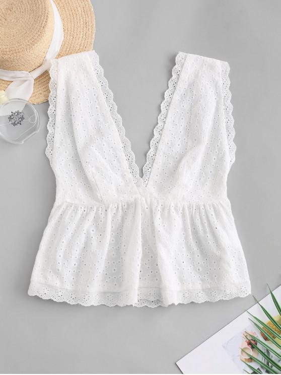 outfits ZAFUL Eyelet Plunging Scalloped Tank Top - WHITE M