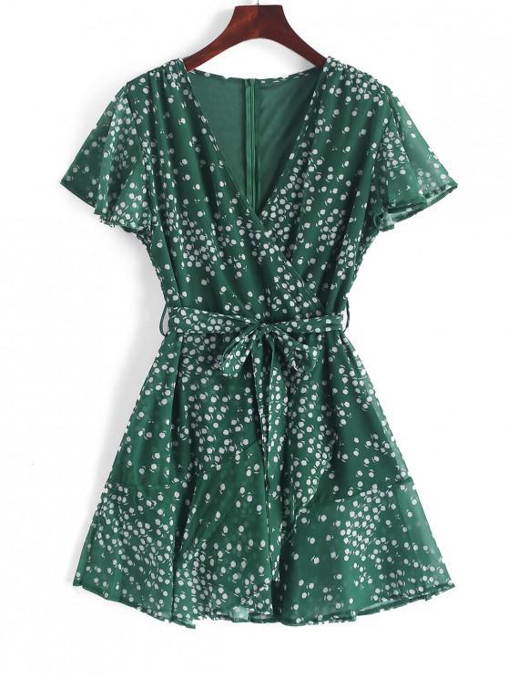 fancy Ruffles Tiny Floral Belted Surplice Dress - MEDIUM SEA GREEN M