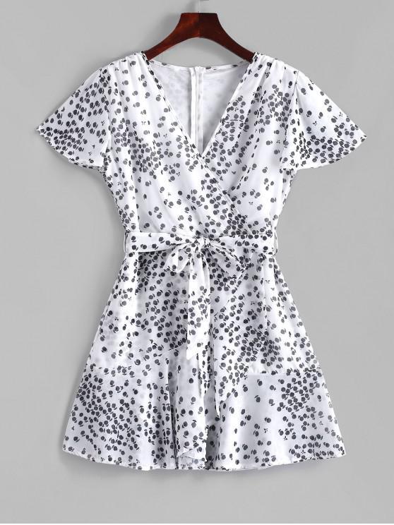 Vestido minúsculo con volantes y estilo floral de Surplice - Blanco S
