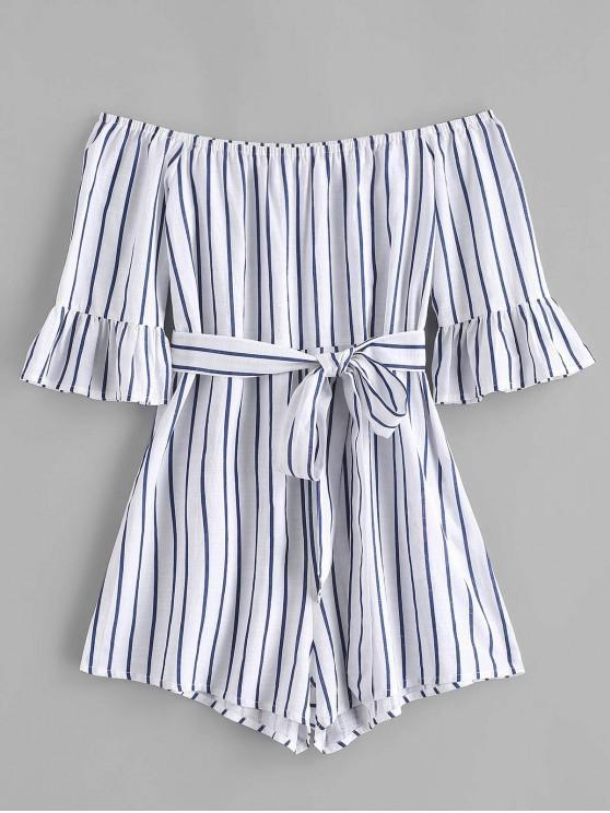 womens ZAFUL Flare Sleeve Off Shoulder Stripes Romper - COBALT BLUE S