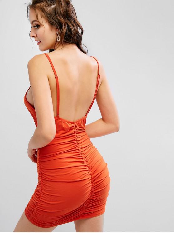 sale ZAFUL Ruched Bodycon Cami Backless Club Dress - ORANGE M