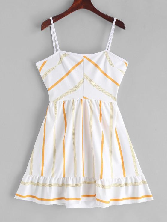 women's Ruffles Striped A Line Cami Dress - WHITE M