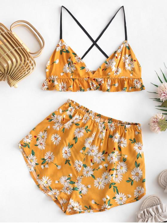 outfit ZAFUL Daisy Print Cropped Cami Top and Shorts Set - RUBBER DUCKY YELLOW M