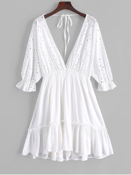 online ZAFUL Tied Back Eyelet A Line Mini Dress - WHITE S