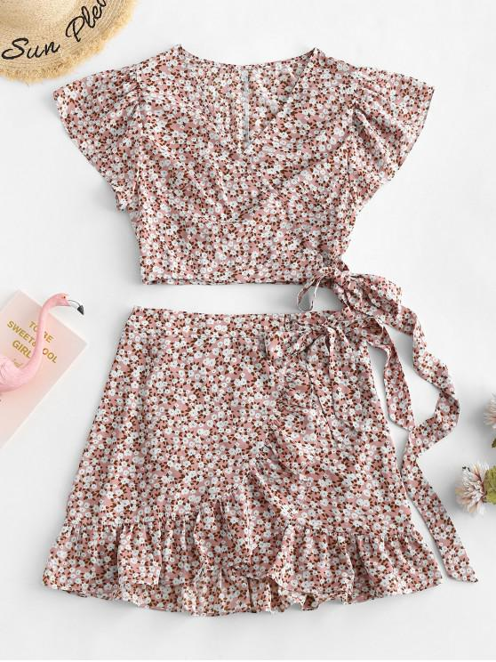 hot ZAFUL Floral Wrap Top And Ruffles Skirt Set - PINK ROSE L