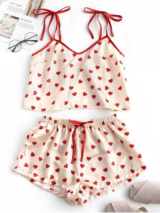 chic Heart Silky Pajama Shorts Set - MULTI-B S