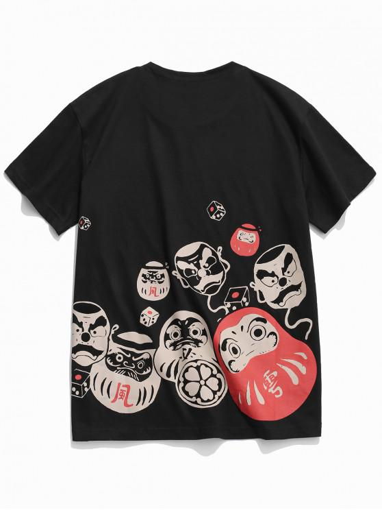 fashion Cartoon Graphic Print Casual T-shirt - BLACK M