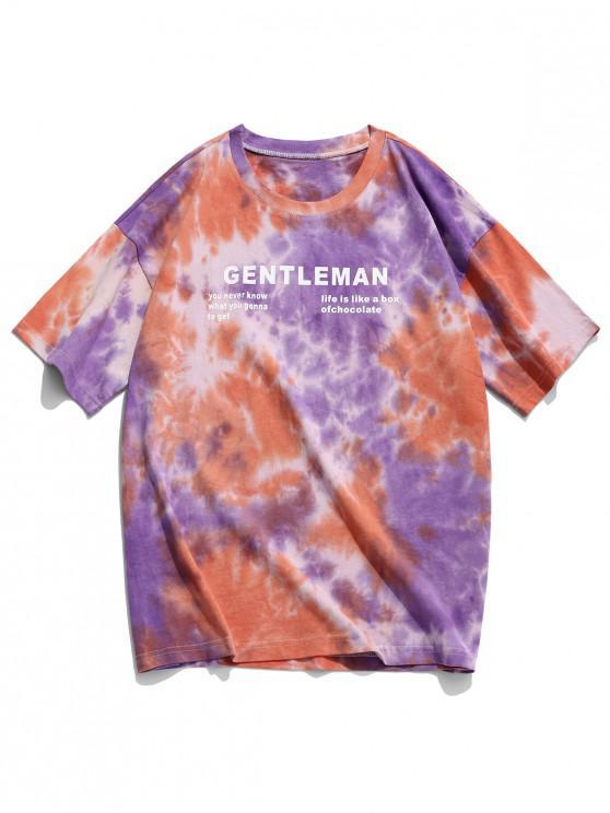 fashion Gentlemen Letter Graphic Print Tie Dye T-shirt - MULTI-A 2XL