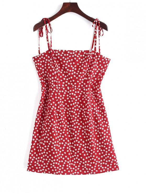 ZAFUL Tied Straps Floral Cami Mini Dress - Rosso Rubino L