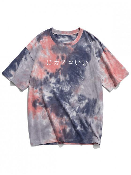 hot Drop Shoulder Japanese Print Tie Dye T-shirt - MULTI-A L
