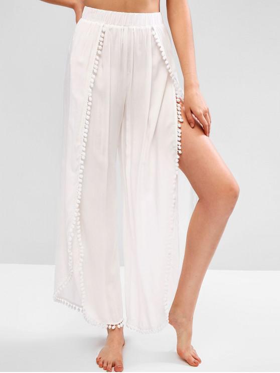 outfits ZAFUL Pom Pom High Waisted Tulip Pants - WHITE M