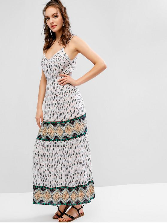 sale ZAFUL Floral Half Button Cami Boho Long Dress - MULTI M