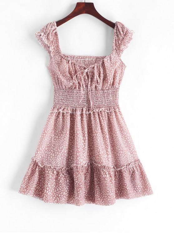 shop Smocked Printed Sleeveless A Line Dress - PINK XS