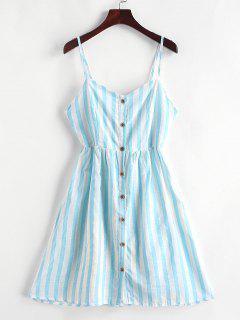 Vestido De Tirante Fino A Rayas Con Nudo En Espalda - Azul Tron Xl