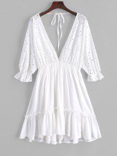 ZAFUL Tied Back Eyelet A Line Mini Dress - White S