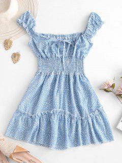 Smocked Printed Sleeveless A Line Dress - Light Blue Xl