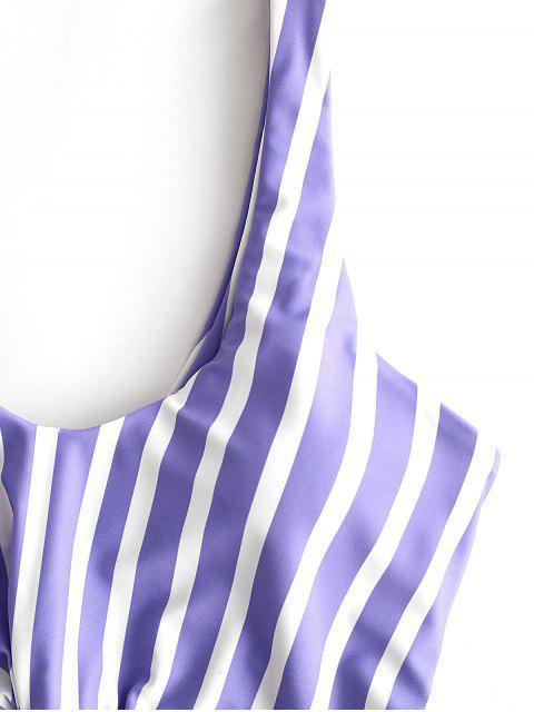 fashion ZAFUL Striped Knotted Monokini Swimsuit - MULTI-A S Mobile
