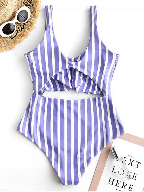 unique ZAFUL Striped Knotted Monokini Swimsuit - MULTI-A M Mobile