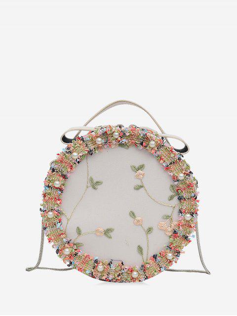 Круглая Кружевная Сумка через плечо Вышивка цветка - Белый  Mobile