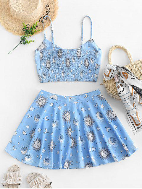 online ZAFUL Knotted Smocked Star Sun And Moon Top And Skirt Set - LIGHT SKY BLUE L Mobile