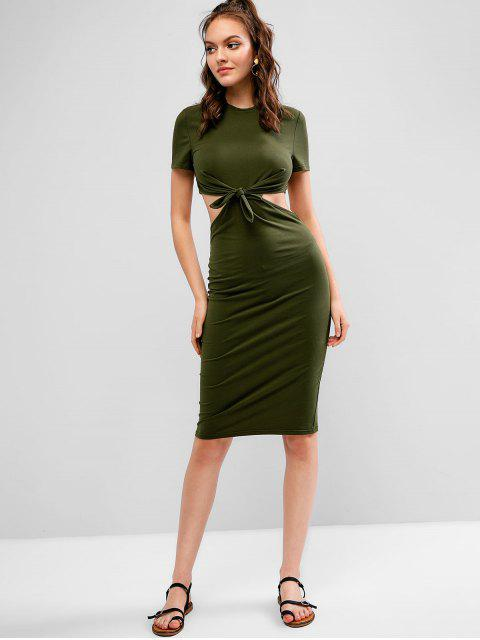 affordable ZAFUL Cut Out Knotted Knee Length Bodycon Dress - DARK GREEN S Mobile